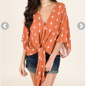 Boho boutique diamond tie top
